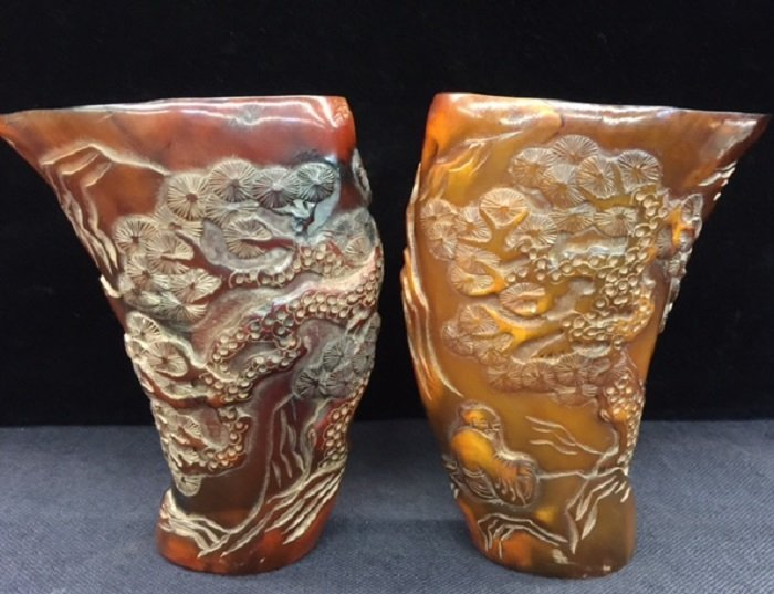 A Pair Of Antique Carved Yak Horn Sacrifice Cup
