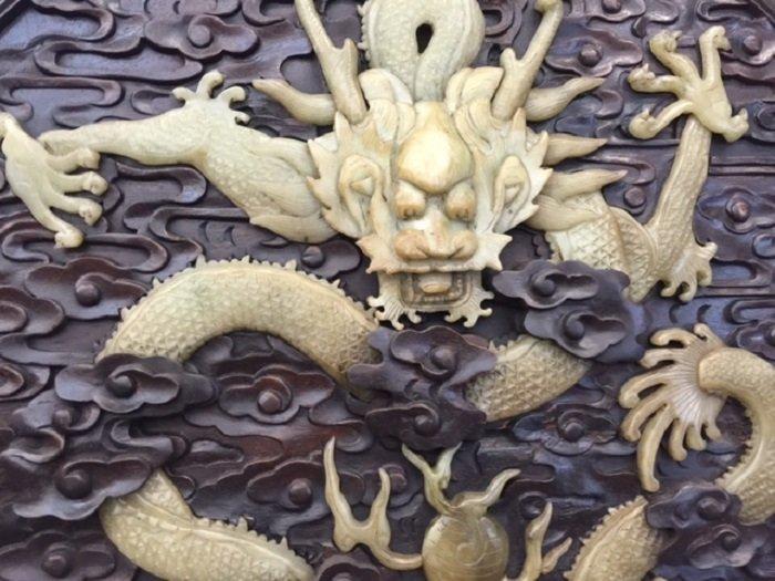 Antique Rosewood Wall Screen Inlaid Jade Dragon