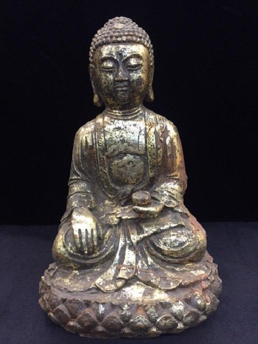 Antique Casting Iron Gilded Seated Budhha