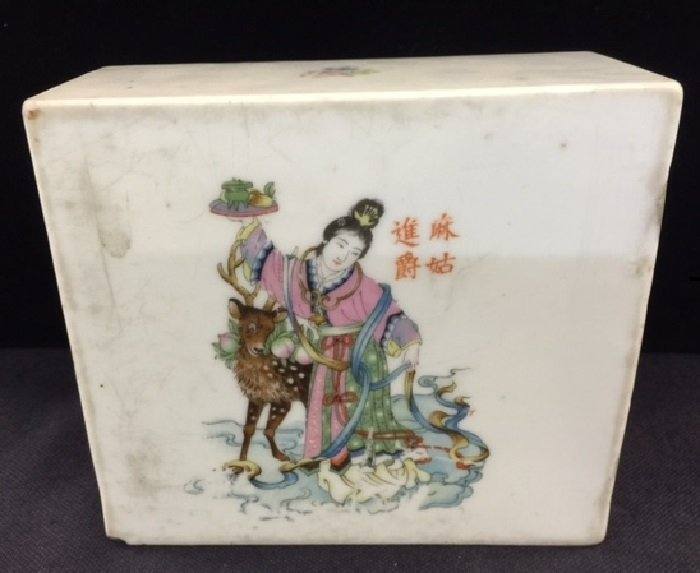 Republic Period Chinese Porcelain Pillow With Painting