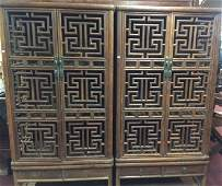 A Pair Of Antique Huanghuali Wood Standing Cabnet