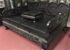 Qing Heitan /or Zitan Opium-Smoking Bed With Carved Art