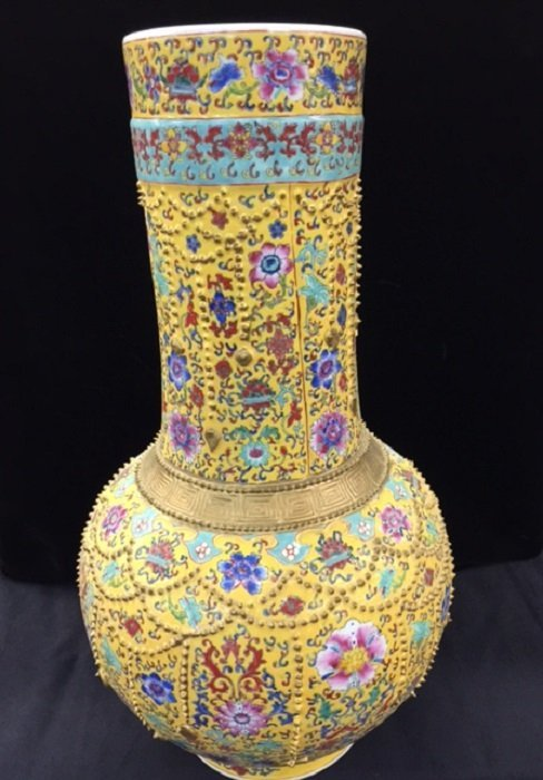 Famille Rose Gilted Porcelain Vase With Qianlong Mark