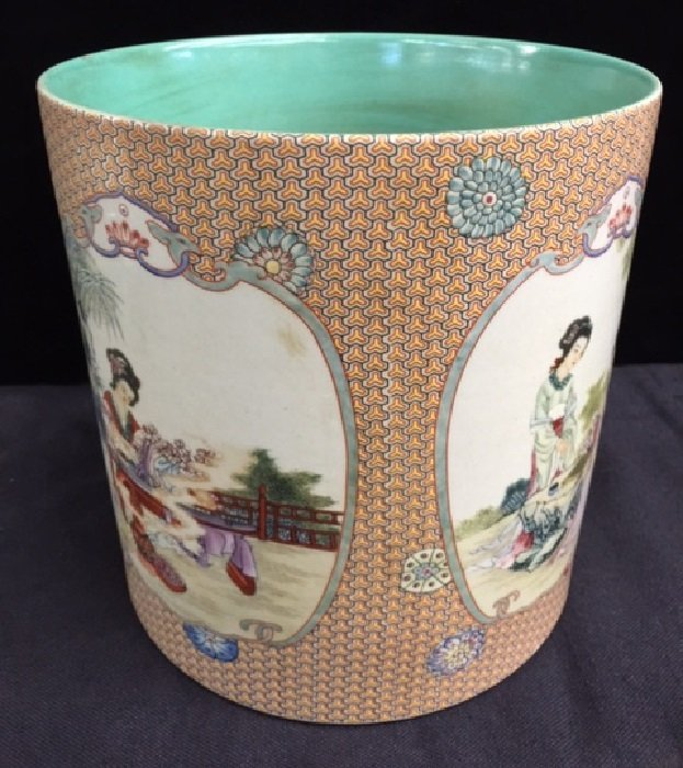 Qing Famille Rose Porcelain Brush Pot With Painting