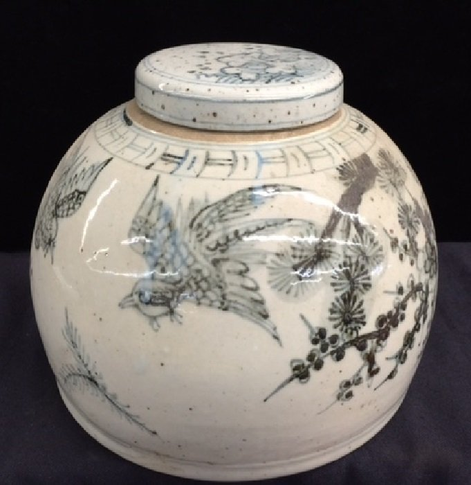 Yuan Dynasty Blue And White Porcelain Pot With Lidded