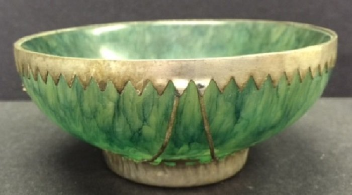 Antique Spinach Jade Bowl Mounted Silver Decoration