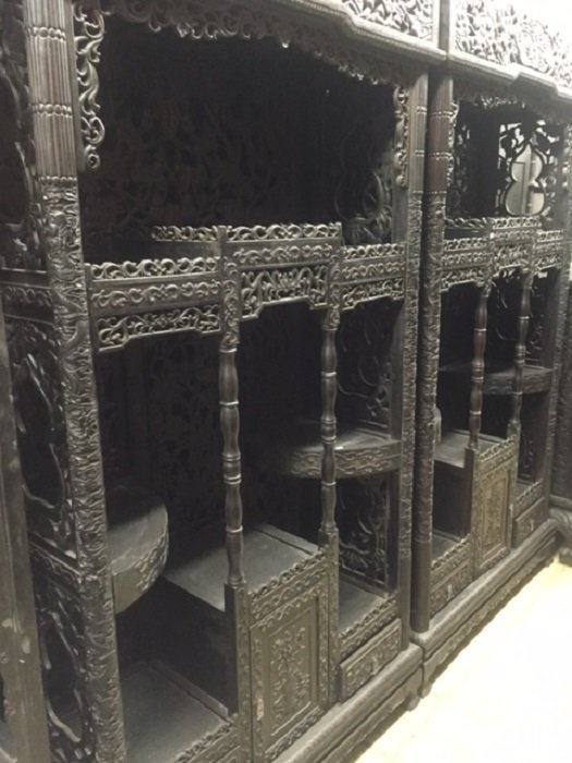 Pair Of Finely Carved Zitan Antique Display Cabinets