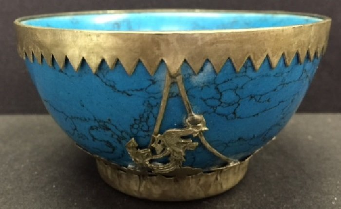 Antique Turquoise Bowl Mounted With Silver Dragon