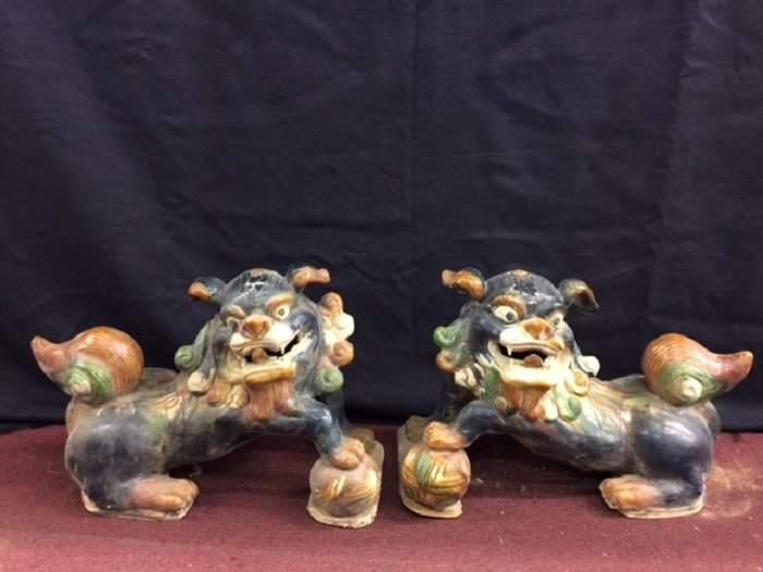 Tang Style Tricolored Glazed Pottery Foo Dogs