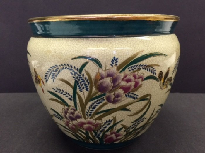 Antique  Porcelain Fish Jar With Colorful Flowers