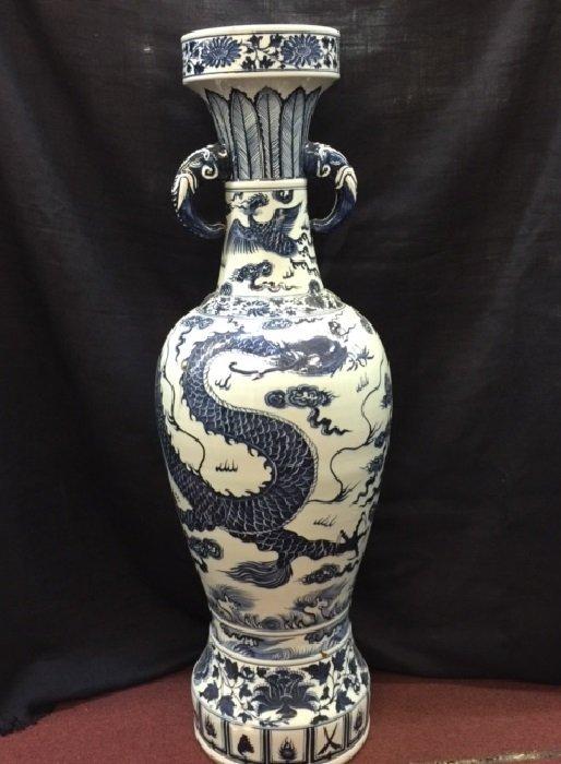 Rarely Large Yuan Blue And White Dragon Porcelain Vase