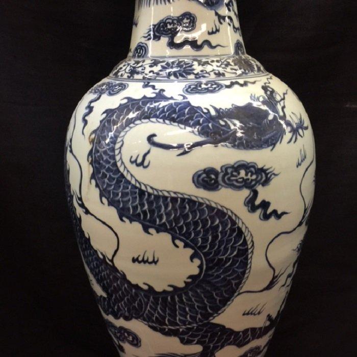 Rarely Large Yuan Blue And White Dragon Porcelain Vase - 2