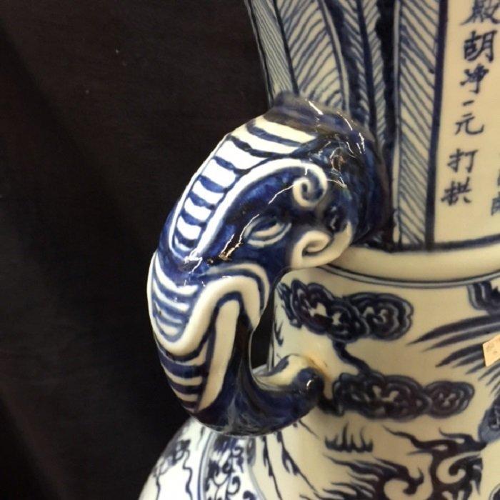 Rarely Large Yuan Blue And White Dragon Porcelain Vase - 6