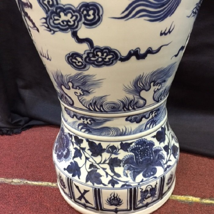 Rarely Large Yuan Blue And White Dragon Porcelain Vase - 7