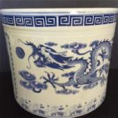 Qing Dragon Blue & White Porcelain Brush Pot