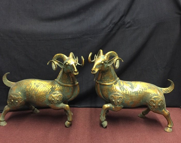 Antique Pair Of Bronze Goat With Nicely Carved Motifs