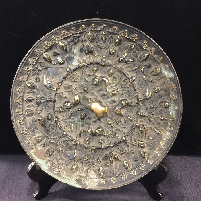 Antique Bronze Mirror With Casting Motifs