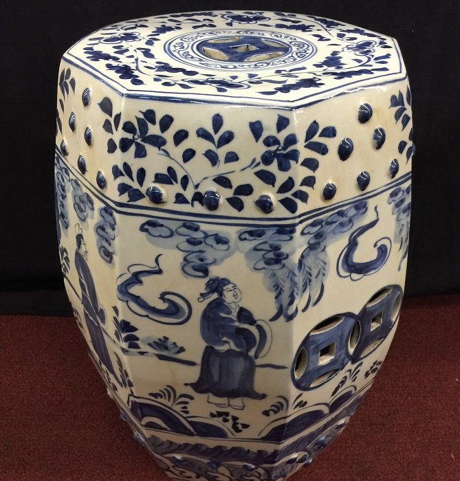 Antique Chinese Blue and White Porcelain Garden Stool