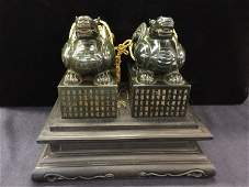 Qing Imperial Pair Of Carved Spinach Jade Stamps