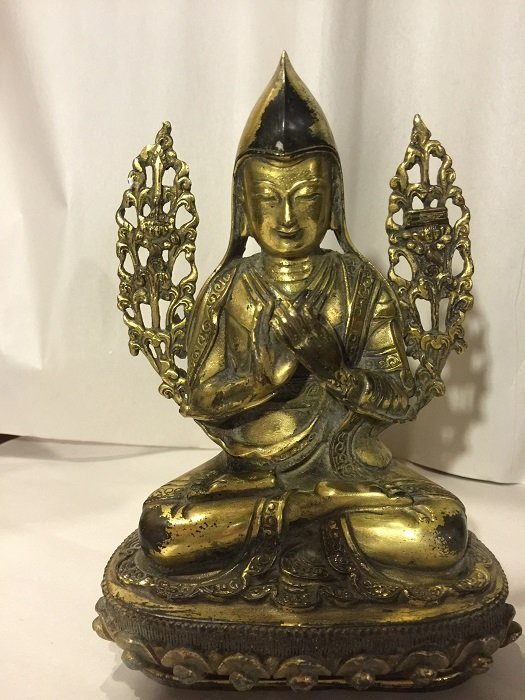 Antique Tibetan Gilt Bronze Buddha Seated On Base