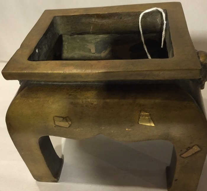 Antique Four Legs Bronze Rectangle Censer With Mark