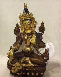 19th C. Carved Gilt Bronze Sino-Tibetan Deity Seated on