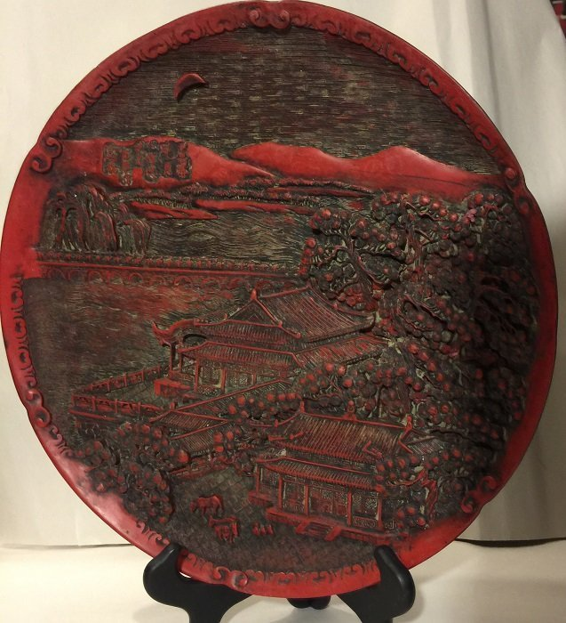 Antique Carved Lacquer Plate With Landscape And Mark