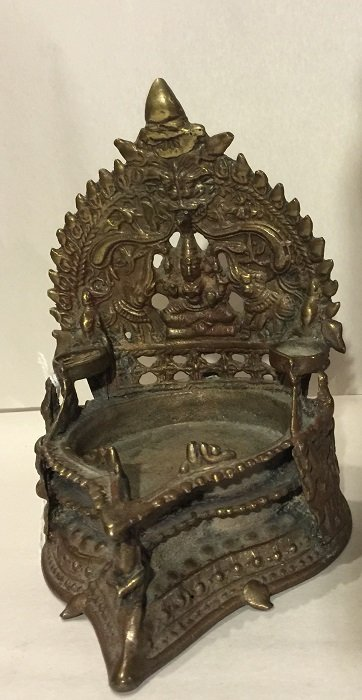 Antique Carved Gilt Bronze Indian Buddha Altar