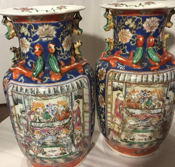 A Pair Of Qing Famillie Rose Porcelain Vase
