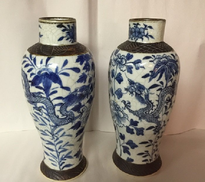 Rarely Pair Of 16th C. Blue And White Dragon Porcelain