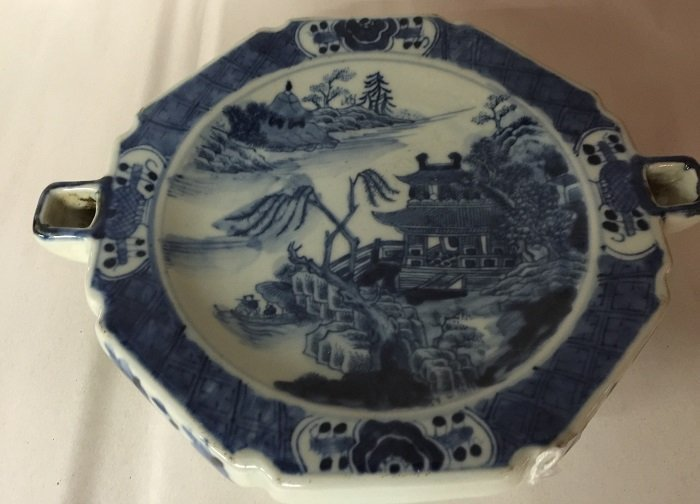 Antique Blue And White Porcelain Brush Washer