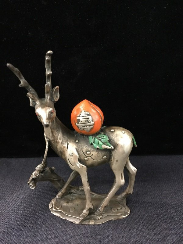Qing Silver Casting Deer With Long-Life Peach