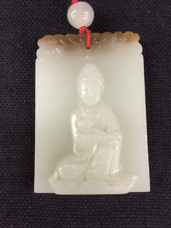 Nicely Carved White Jade Guan-Yin Pendant