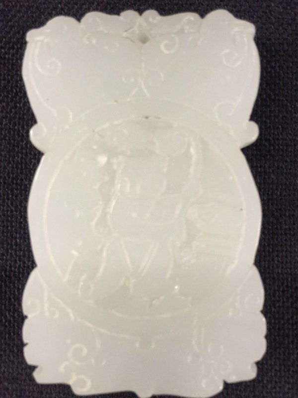 Nicely Carved White Jade Pendant With Kids