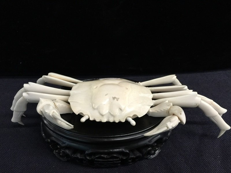 Antique Finely Carved Ivory King Crab