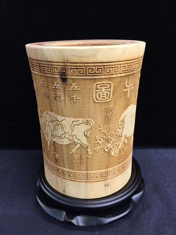 A Nicely Carved Wooden Pen Holder With Five Oxen