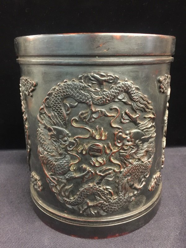 Nicely Carved Zitan Brush Pot With Dragon, Phoenix