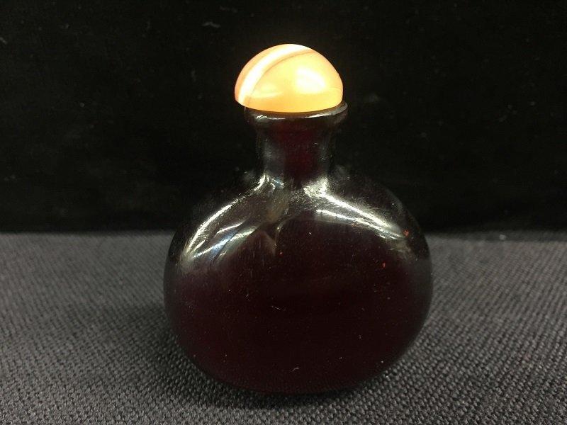 A Dark Color Peking Glass Snuff Bottle