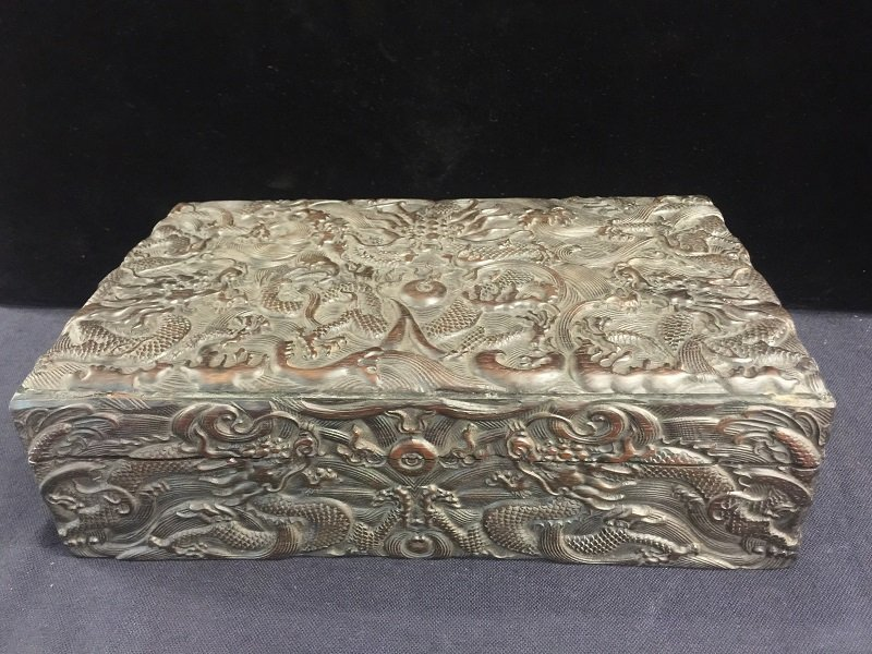 Qing Nicely Carved Zitan Dragon Box
