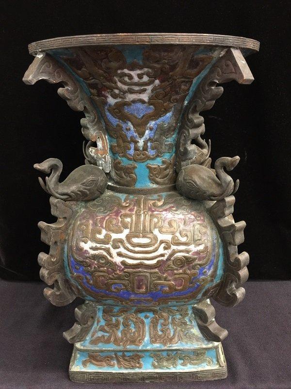 Finely Carved Chinese Quadrangle Archaic Enamel Vase