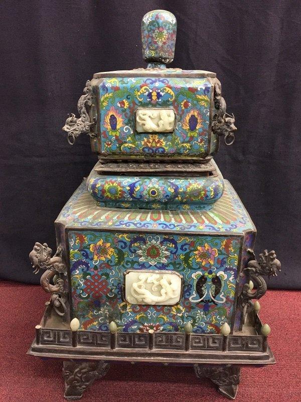 Qing Lidded Quadrangle Cloisonné Burner Inlaid Jades