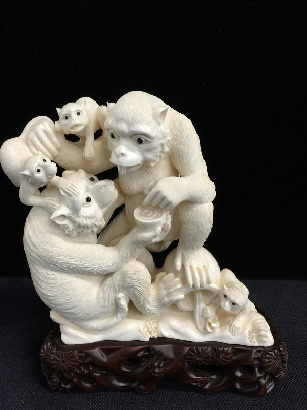 Antique Nicely Carved Mammoth Ivory Monkey Family