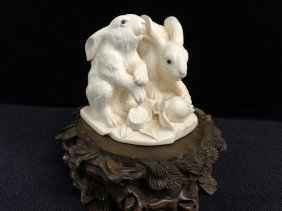 A Finely Carved Mammoth Ivory Rabbits With Base