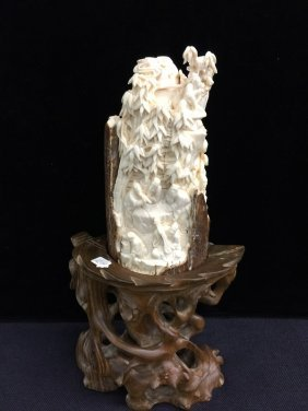 "Antique Finely Carved Mammoth Ivory ""chinese Seven"