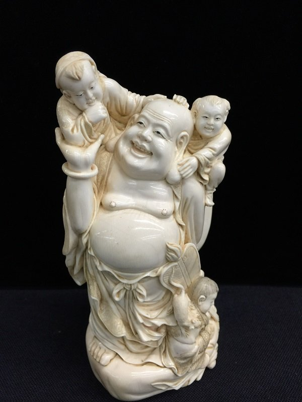 """Qing Finely Carved Mammoth Ivory"""" Laughing Buddha"""