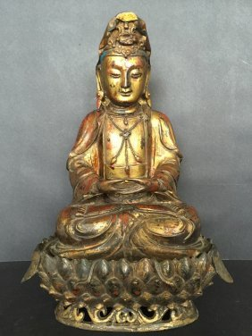 Antique Finely Carved Gilt Bronze Buddha With Lotus