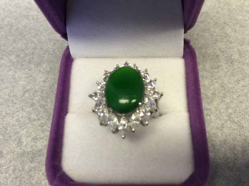 A Nicely Carved Green Jadeite Woman Ring With Diamond - 2