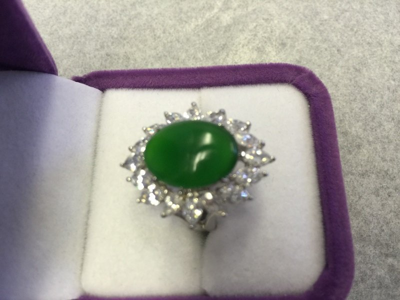 A Nicely Carved Green Jadeite Woman Ring With Diamond - 3