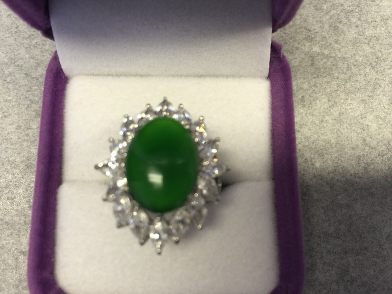 A Nicely Carved Green Jadeite Woman Ring With Diamond - 4