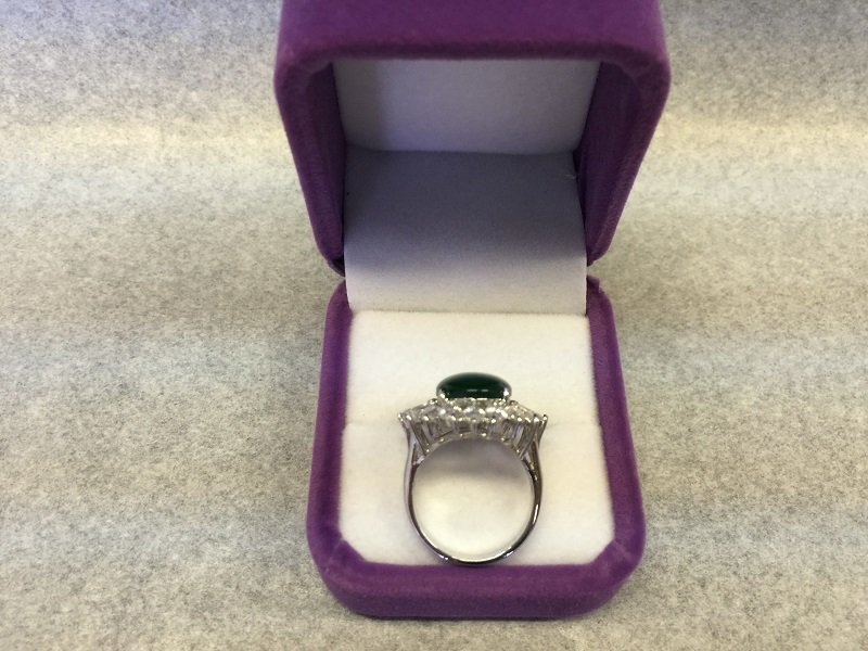 A Nicely Carved Green Jadeite Woman Ring With Diamond - 5